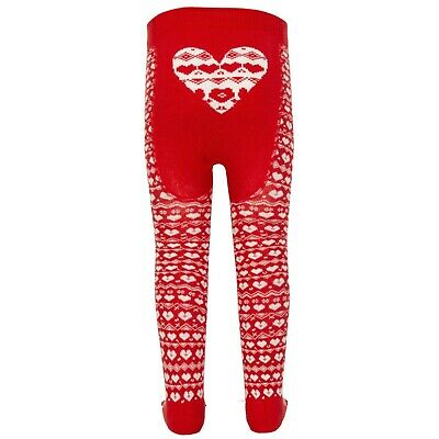 Kite Clothing 100% Organic Cotton Girls Nordic Heart Tights (Red &White) RRP £12