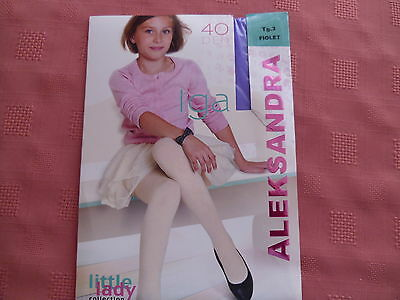 NEW GIRLS PLAIN VIOLET COLOURED 40 den TIGHTS size 140/146