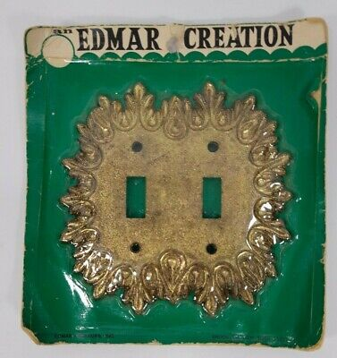 Vintage Brass Double Toggle Light Switch Plate Cover Edmar Creation New in Pkg
