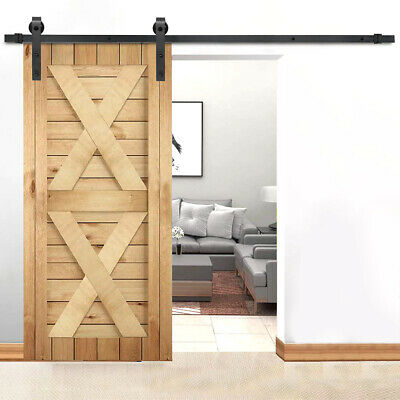 6 FT Aluminum Sliding Barn Wood Door Hardware Track Roller Kit Set Black