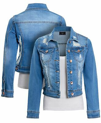 Womens Ripped Denim Jacket Ladies stretch Jean distressed Blue Size 6 to 16