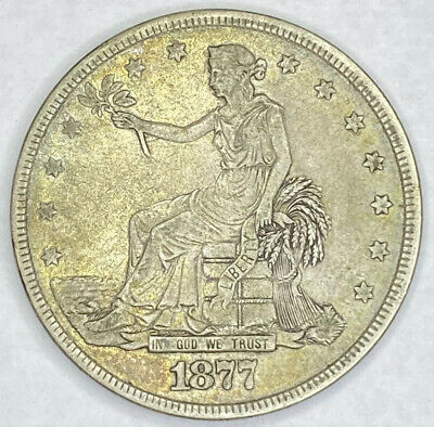 1877 Trade Silver Dollar $1 Original Coin AU