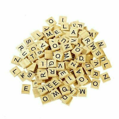 200 Wooden Scrabble Tiles Black Letters Numbers For Crafts Wood Game Alphabets