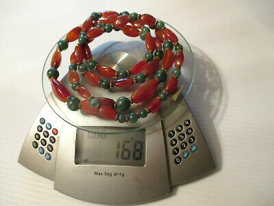 "Antique 46"" Chinese Graduate Beaded Carnelian Agate& Jade Hand Knotted Necklace"