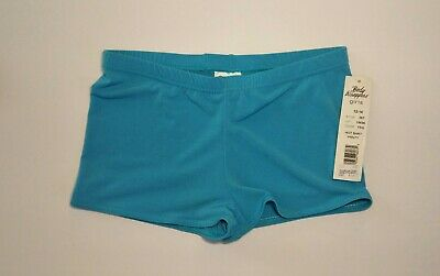 Body Wrappers BWP082 Girls Size 8-10 Turquoise ProWEAR Boy-Cut Shorts Medium