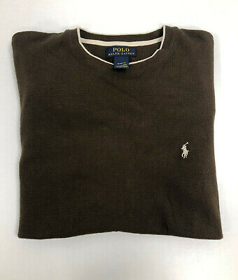 Polo Ralph Lauren Men's Jumper Sweater Cotton Crew Neck Brown Size M