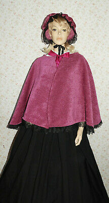 Ladies Handmade Victorian Gentry Costume Bonnet, Cape & Skirt (8-16) Fuchsia/Blk