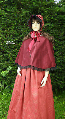 Ladies Handmade 3Pc Victorian Gentry Costume Bonnet Cape & Skirt (6-14) Burgundy