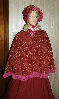 Ladies Handmade Victorian Gentry Costume Bonnet Cape & Skirt (10-18) Burg/Pink