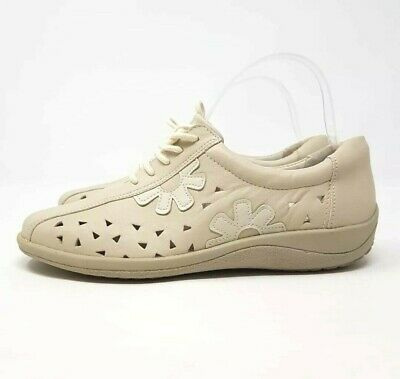 Aco Cream Leather Shoes UK 6 EU 39 Casual Lace Up Comfort Pumps