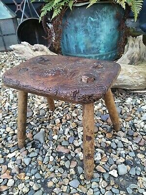 A Super 19th Century Primitive Hearth Stool Milking Stool Elm