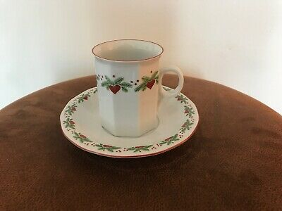 Porsgund (Norwegian Hearts and Pines Multisided Cup and Saucer - Excellent Cond