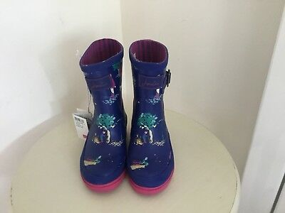 Joules Girls Navy Blustery Wellies Size Uk 8