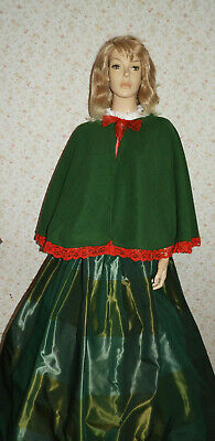 Ladies Handmade 2Pc Victorian Gentry Costume Cape & Skirt (Sz 10-18) Green/Red