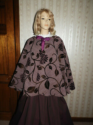 Ladies Handmade Victorian Gentry Costume Cape & Skirt (10-20) Purple/Aubergine