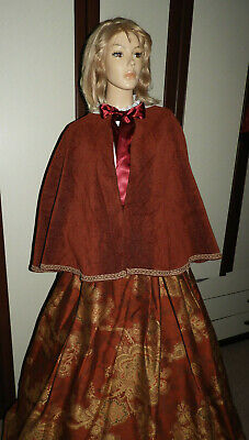 Ladies Handmade Victorian Gentry Costume Cape & Skirt (10-16) Burgundy/Orange