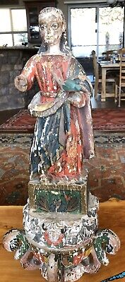 Antique Spanish Colonial Or Portuguese Santos Carved Wood PolyChrome Madonna
