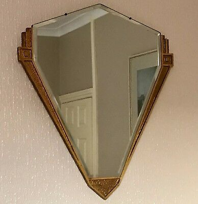 Fabulous Original Art Deco Bevelled Glass Fan Mirror With Gold Wood Surround