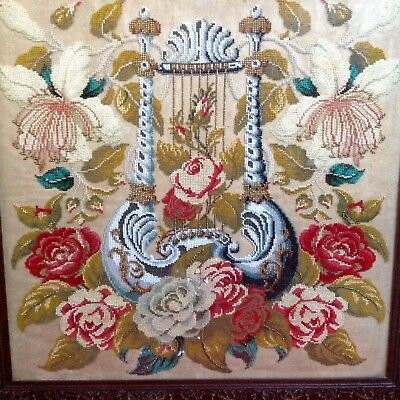 Victorian Belgian Beadwork Tapestry In Origianal Wood Frame With Nice Decoration