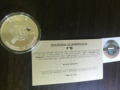 FINITE BY DESIGN FD limited w/ COA BTC SILVER- unfunded- like bit coin CASASCIUS
