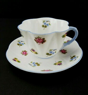 Shelley England Rose Pansy Forget Me Not Flower Bone China Tea Cup & Saucer pm