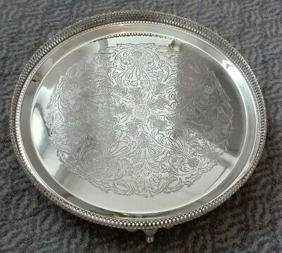 Vintage silver plated EPNS footed drinks serving tray, 34cm diameter