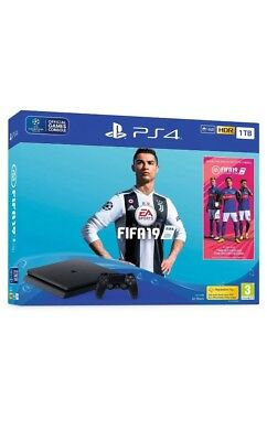 Sony PLAYSTATION 4, Ps4 1TB CONSOLE  F CHASSIS SLIM Black + Fifa 19 GIOCO -