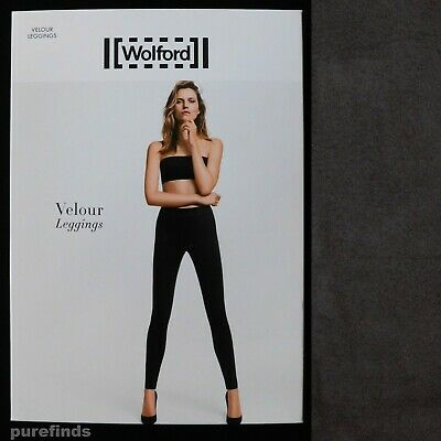 Wolford Velour Graphit Leggings Size 36 Uk 8 Suede Effect Rrp £225