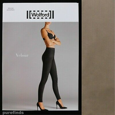 Wolford Velour Taupe Grey Leggings Size 36 Uk 8 Suede Effect Rrp £225