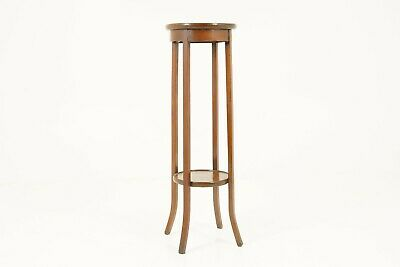 "Antique Edwardian Plant Stand, Walnut, Circular, 2 Tier 37"", Side Table, B1724"