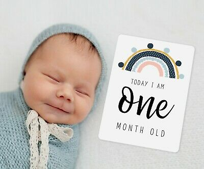 Gender Neutral Baby Milestone Cards. Unisex boho rainbow. Monthly 13 Cards