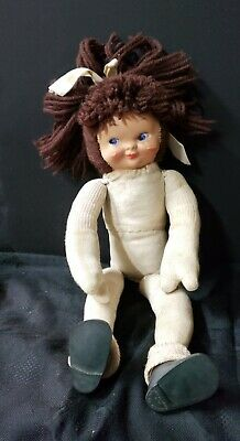 Vintage Sock Doll Molded Face Haunting Lobster Claw Hands Fairyland Shoes #3