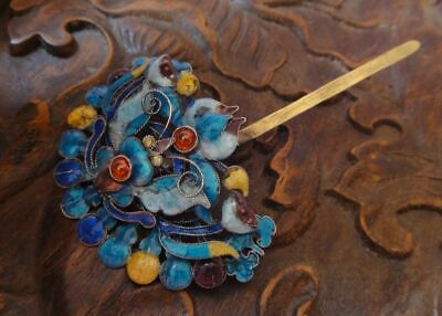 18th C chinese antique silver  enamel lotus butterfly hair pin