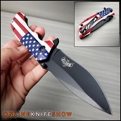 """8.5"""" TACTICAL AMERICAN USA FLAG ASSISTED OPEN POCKET KNIFE Spring Folding Blade"""