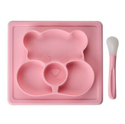 Baby Teddy Plate Silicone Feeding Mat Placemat with Spoon and Sections