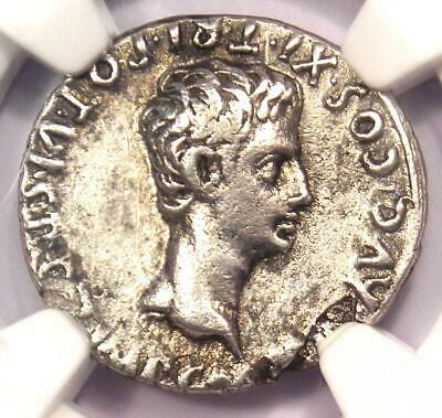 Augustus AR Denarius Coin 27 BC - 14 AD, Spanish Mint - Certified NGC Choice VF