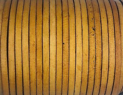 Flat 4mm Antique Natural Leather Cord Lace Thong Sring 50m Jewellery Craft