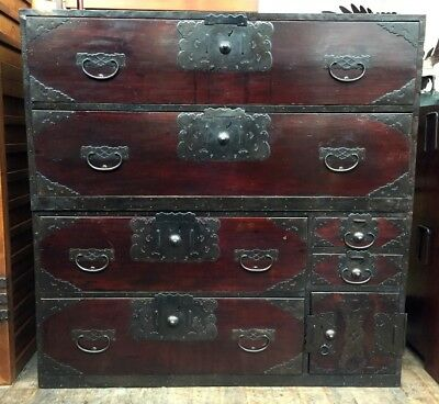 Japanese antique tansu cabinet Sado chest-on-chest