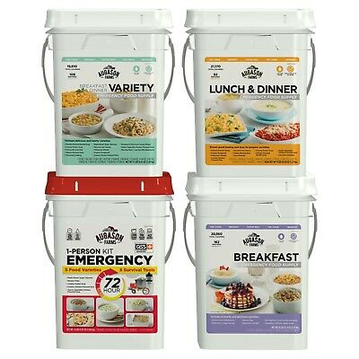 4-Pail Variety Emergency Food Supply Storage Pails Survival Ration, 402 Servings