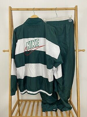 VTG 90s Nike Spellout Swoosh Striped Two Piece Windbreaker Tracksuit Size XL