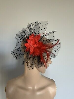 Red And Black Hair Clip Feather Fascinator Wedding Ladies Race Day Accessories