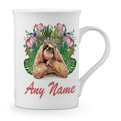 Personalised (Any Name) Floral Sloth Novelty Gift Fine Bone China Mug
