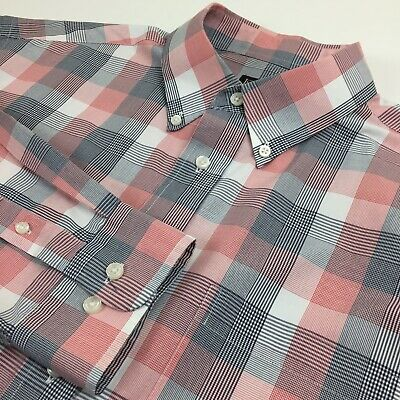 Jos A Bank Mens Large White/Red/Black Check Long Sleeve Button Front Shirt