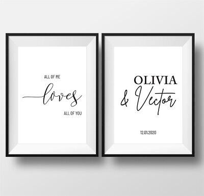 Personalised Love Custom Print Pictures Posters Wall Art Decor Couples Partners