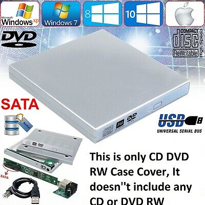 USB 2.0 External Slim Caddy Case Drive Enclosure Laptop NoteBook IDE DVD CD Rom