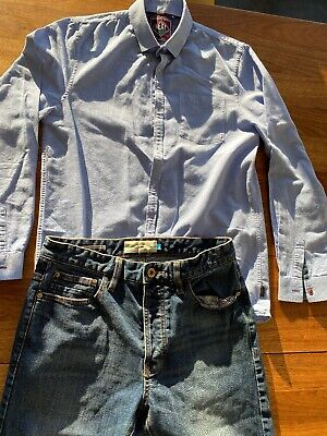 Next BOYS15/16yrs Prem Blue Shirt With Next Stretch Denim Jeans Slim 30w Longleg