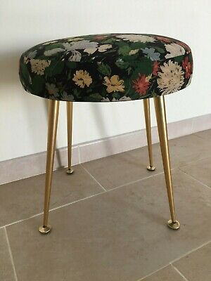 1950's Sherborne Stool with brass Dansette Style Splayed Legs