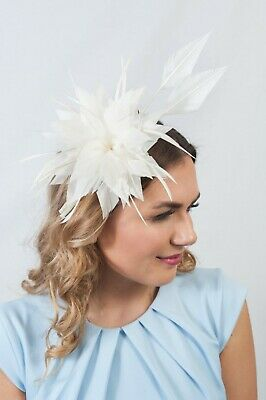 Cream Leather Feather Fascinator Ladies Hatinator Race Day Hats Fascinators