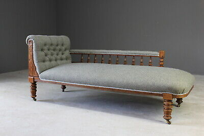 Antique Edwardian Grey Wool Upholstered Chaise Longue