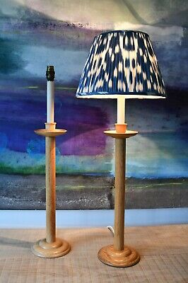 A Pair of Vintage Oak Candlestick Column Brass Hall Bed Side Table Lamps